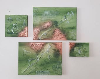 Mixed media acrylics and abstract texture image 80 x 60 cm set of 4