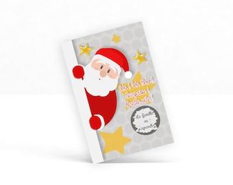 Carte à gratter de Noël avec message personnalisable: grossesse, mariage, baptême, anniversaire