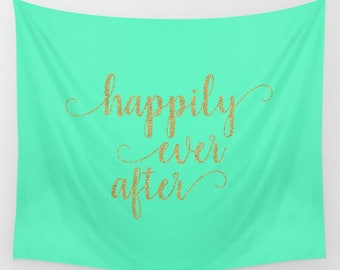 Happily Ever After Banner Wall Hanging, Wall Tapestry Quote, Wedding Sayings On Fabric, Navy Wall Decor, Gold Wedding Decor
