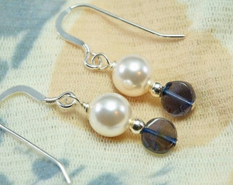 White Crystal Pearl and Smoky Quartz Drop Earring