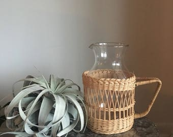 Pitcher Decanter with Wicker Wrap Cozie
