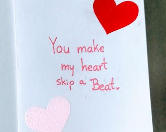 You Make My Heart Skip a Beat Valentine's Day card