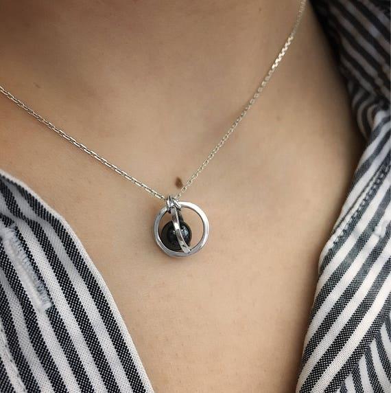 Hematite Planet Necklace / Captured Planet Necklace / Hematite Necklace / Crystal Ball Pendant / Crystal Ball Necklace / Minimalist Necklace