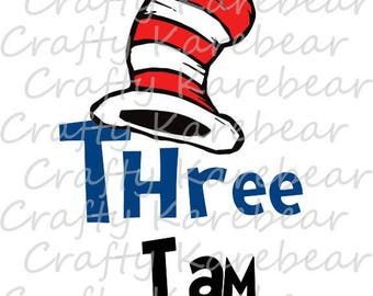 "Cat in the Hat ""Three I Am"" SVG Digital File"