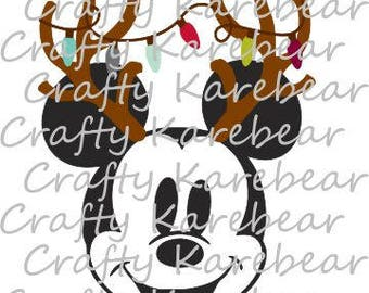 Mickey with Antlers and Lights SVG Digital File Download