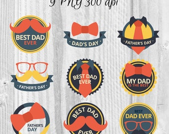 9 Father's Day badges Father's Day labels Instant download DIY Father's Day Phrases Happy father's day stickers