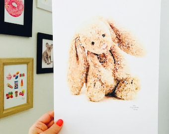 Iconic Jelly Cat Rabbit Print.  A4 Size Designed and Printed in Australia.