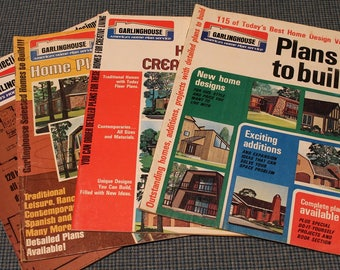 4 - Garlinghouse Home Design Blueprint Catalogs~Traditional ~ Ranch ~Contemporary~Spanish~ Vintage 1st Editions -1960's & 70's Architecture