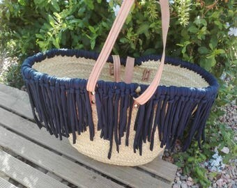 Navy Blue fringed beach basket