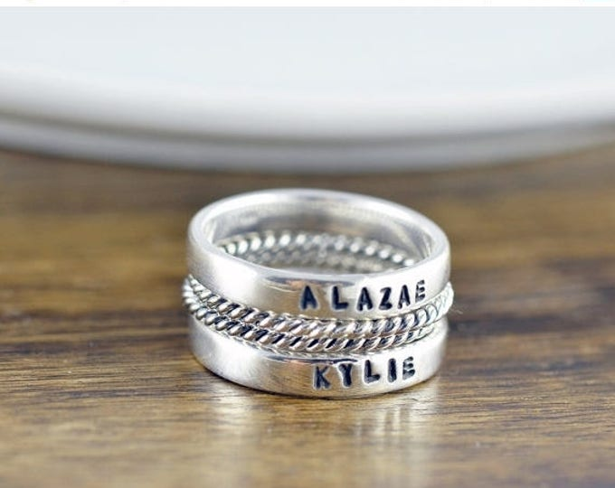 10% off SALE Stackable Name Rings - Personalized Stacking Ring - Gift for Mom -  Name Rings  - Mothers Jewelry - Mothers Ring