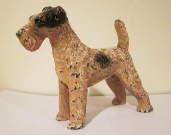 Vintage Hubley Cast Iron Wirehaired Fox Terrier Doorstop