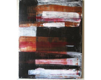 Original Small Abstract Painting # 188 - Expressionism Minimalist Black & White Brown Canvas Gallery Wall Art Modern Contemporary 16x20 Art