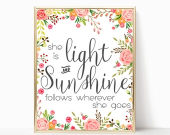 Inspirational Nursery Quote. Inspirational Quote. Girl Quote. Light. Sunshine. girl bedroom wall quote.
