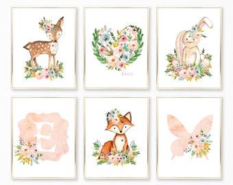 Peach Nursery Art. Peach Nursery Decor. Peach Nursery Prints. Peach Watercolor Nursery Art. Floral Nursery. Girl Nursery. Nursery Ideas. Art