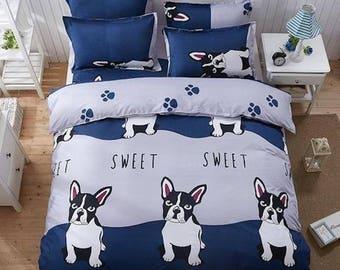 French Bulldog Boston Terrier Duvet Bed Set Linen
