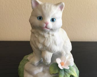 White Long-Hair Cat Sitting on a Stone in the Grass with Flower