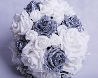 Silver Glitter Rose and White Rose Wedding Bouquet