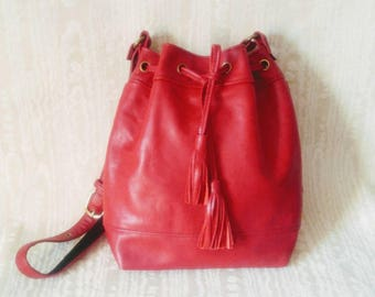 Gorgeous Red Leather Mimi Crossbody Tote Bag, *Free North American Shipping!* Genuine Leather, Bucket Bag, Canadian Made, 1867Shop, Handmade