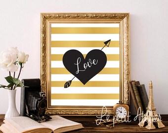 Love Printable art - Love art - PRINTABLE Art, Wall art, Home Decor, Fashion print,Trendy Wall Art, Wall prints, Gold Printable Art