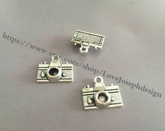 wholesale 100 Pieces /Lot Antique Silver & Bronze Plated 15mmx16mm Camera charms(#044)