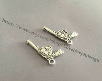 wholesale 100 Pieces /Lot Antique Silver Plated 24mmx14mm gun Charms  (#019)