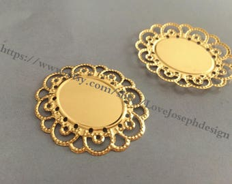 wholesale 100Pieces /Lot Antique gold Plated 18mmx25mm cabochon bezel trays connector (#0322)