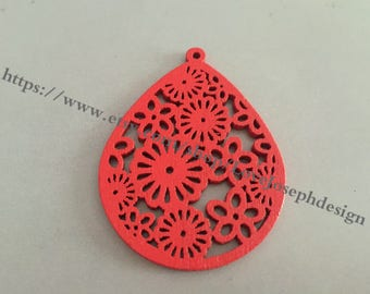 4PCS Colorfull hollow wood Red 51x39mm Teardrop Earring Pendant Filigree Flower Wooden Charms (#0327)