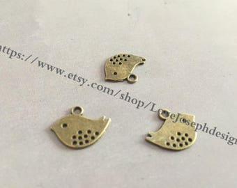 wholesale 100 Pieces /Lot Antique Bronze Plated 12mmx16mm birds charms (#0537)