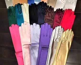 "15.5"" Long Shiny Stretch Satin Dress Gloves Below-The-Elbow Length 8BL"