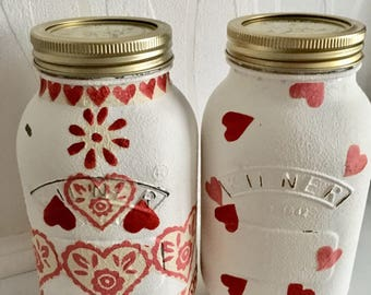 READY TO SHIP Emma Bridgewater hand decorated Kilner jar, hearts, mason jar, homeware, home decor, decoupage,valentines gift, Mother's Day