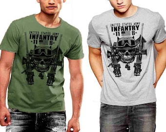 US Army Infantry T-Shirt MOS 11B US Flag Military Men Cotton Tee