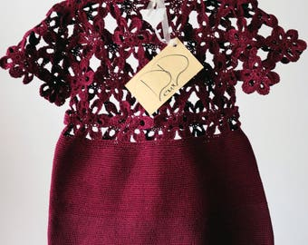 A Burgundy dress, hand crocheted