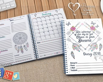 Weekly Diary 2018 Printable A5 Boho Magical Dreamcatcher PDF - PPTX V-ENGLISH