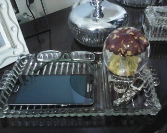 Vintage Clear Pressed Glass Bedside Tray Great Jewelry Valet  FREE SHIPPING
