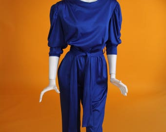 Vintage 1970s/1980s Royal Blue Long Sleeved Shiny Jumpsuit / Long Sleeved Romper with Keyhole Back by 'Vera Mont'. UK 10-12 US 6-8