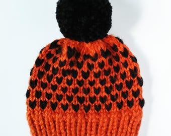 orange fair isle hat, orange and black hat, orange heart hat, halloween heart hat, halloween fair isle, child halloween hat, unisex hat