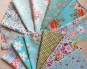 13 coupons patchwork fabric cotton 20 X 20 cm Blue stitching