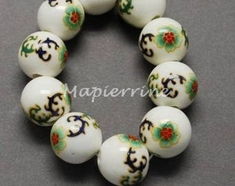 10 ceramic beads, round porcelain DECORATION 1 cm