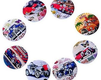 8 round wooden buttons sewing, children, 3 cm scrapbooking old cars