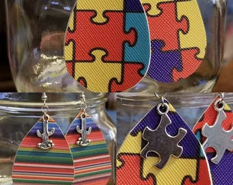 Autism Puzzle or Serape Cactus Tear Drop Earrings Faux Leather Hook Earrings or Clip on Style