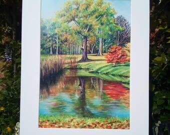 A3+ Print of original pastel drawing, Autumn Reflection