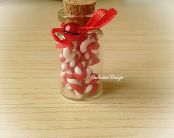 Mini candy canes in glass bottle with bell polymer clay charm Christmas tree ornament special miniature gift