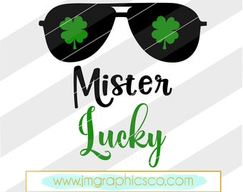 Mister Lucky svg, eps, dxf, png, cricut, cameo, scan N cut, cut file, st patricks day svg, lucky svg, shamrock svg, 1st st patricks day svg