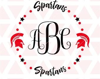 Spartans Monogram Frame svg, dxf, cricut,cameo, cut file, football, baseball, softball, volleyball, basketball, soccer, Tball, spartans logo