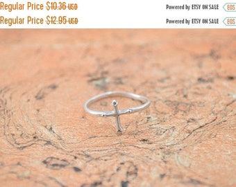 BIG SALE On Sale Delicate Cross Ring Size 8.75 Sterling Silver 0.8g Vintage Estate