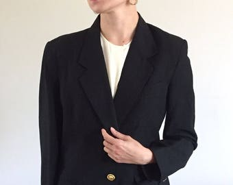 Vintage 90s Minimal Black Linen Relaxed Fit Menswear Blazer Gold Buttons   M 6/8