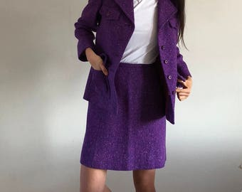 60s Donegal Tweed Skirt Suit Grape | S/M