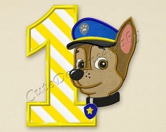 Paw Patrol Chase Number 1 applique embroidery design, Paw Patrol Machine Embroidery Designs, Embroidery designs baby, Instant download #030