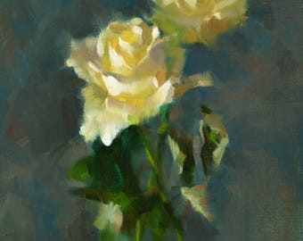 White Roses - original oil painting, alla prima oil painting, one of a kind