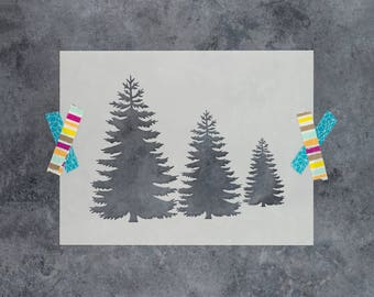 Pine Trees Stencil - Reusable DIY Craft Stencils of Pine Trees